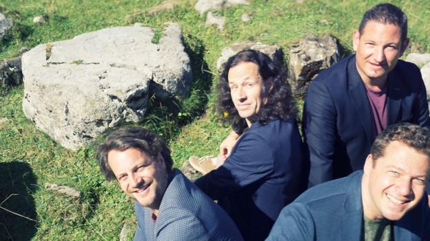 Vier Männer sitzen auf Wiese mit Steinen.