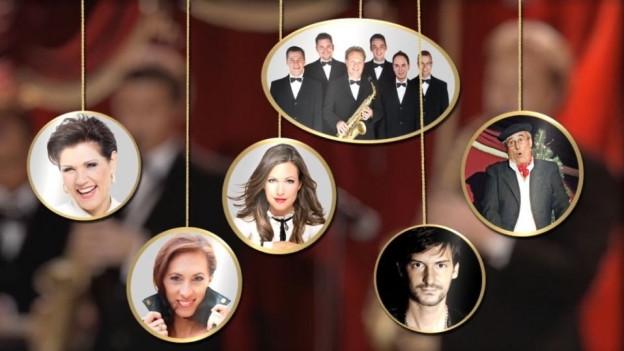Die Stars des Abends in einer Collage.