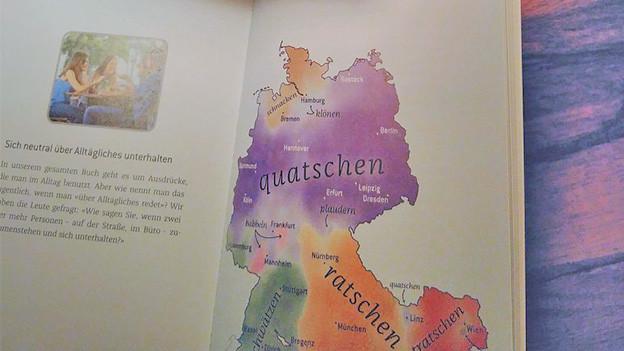 Eine aufgeschlagene Doppelseite in einem Buch mit Grafik und Text.