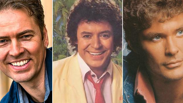 Marcel Schweizer, Tony Marshall und David Hasselhoff in einer Collage.