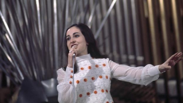 Paola del Medico im März 1969 am Eurovision Song Contest in Madrid.