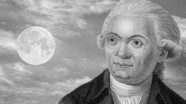 Bildcollage mit Mond und einem gezeichneten Porträt.