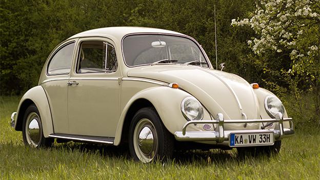 Ein beigefarbener VW Käfer auf einer Wiese.