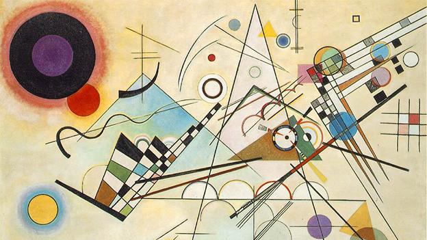 Ein Gemälde mit verschiedenen Farben und Formen.