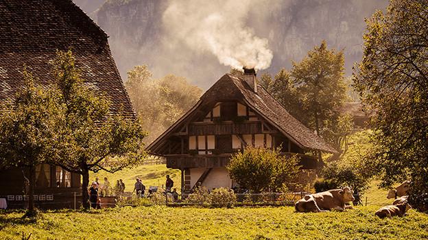 Zwei alte Schweizer Bauernhäuser.
