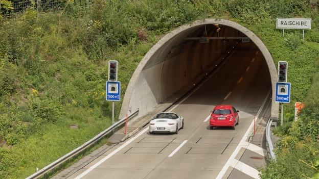Raischibe Autobahn-Tunnel, Blick Richtung Chur.