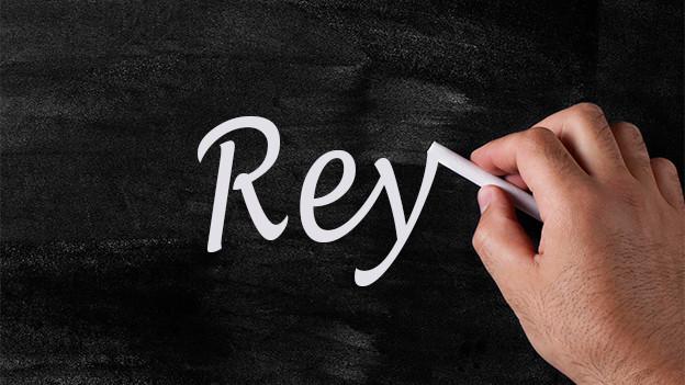 Schreibtafel mit Text Rey.