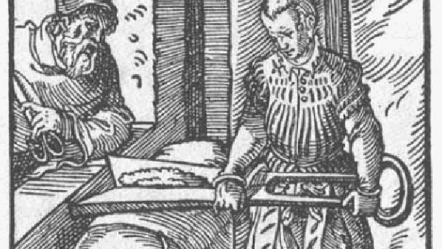 Illustration eines Tuchscherers aus dem Ständebuch von 1568.