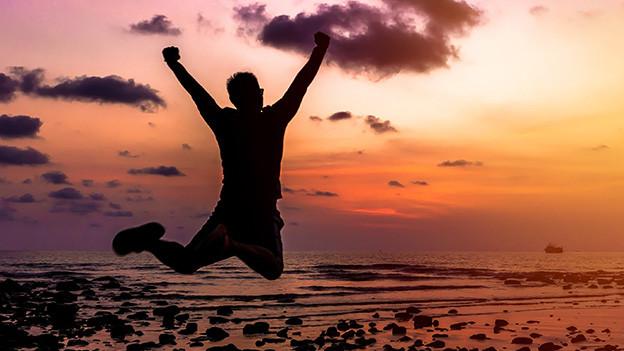 Ein Mann springt im Sonnenuntergang fröhlich in die Höhe.