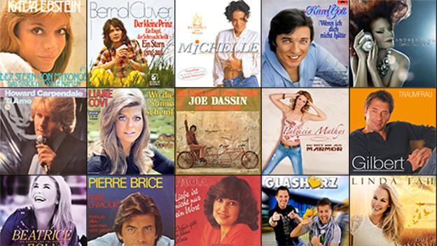 Bildcollage verschiedener Covers von Schlagerhits.