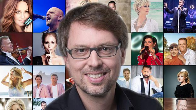 Christian Klemm vor Miniaturbilder grosser Schlagerstars.