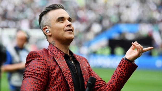 Robbie Williams an der Fussball WM Eröffnungsfeier 2018.