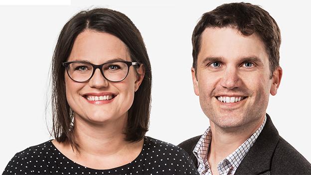 Bildcollage mit Porträts von einer Moderatorin und einem Moderator.
