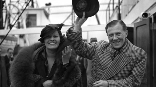 Jack Payne und seine Frau in Southampton, 1936.