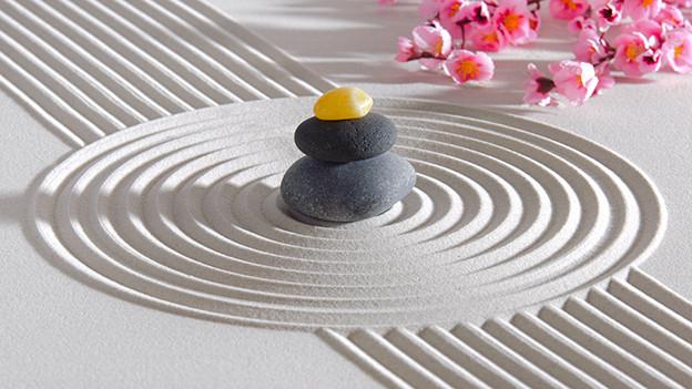Ein dunkler Stein in weissem Sand.