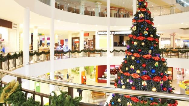 Ein grosses Einkaufszentrum mit grossem Weihnachtsbaum.