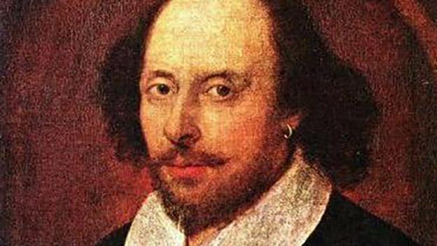 Gezeichnetes Porträt von William Shakespeare.