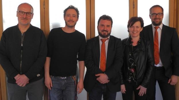 Die Musikkommission des SBBV (v.l.n.r.): Corsin Tuor, Ludovic Neurohr, Bertrand Moren (Muko-Präsident), Véronique Gyger-Pitteloud und Matt Piller (Contest Controller).