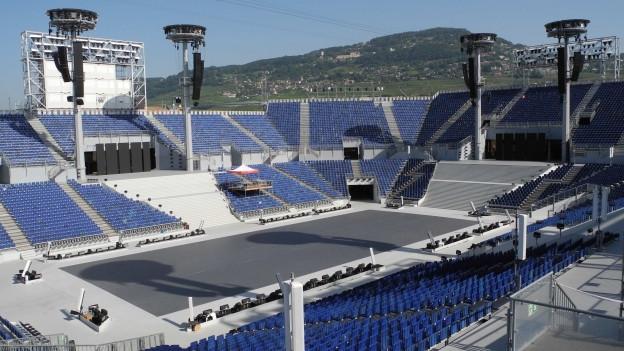 Die Arena der Fête des Vignerons 2019 auf dem Marktplatz in Vevey.