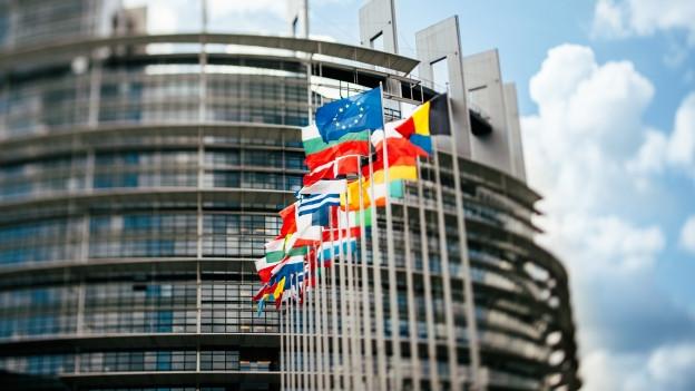 Verschiedene Flaggen von unterschiedlichen Ländern vor einem Gebäude.