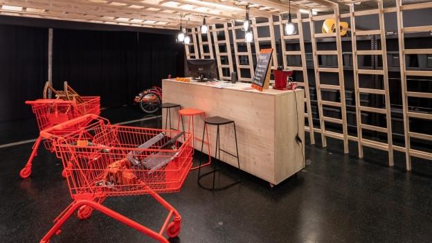 Verschiedene Utensilien wie ein Schlitten, Einkaufswagen oder Toaster stehen zum Ausleihen bereit.