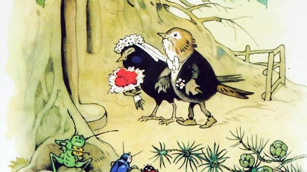 Illustration mit zwei Vögeln als Hochzeitspaar.