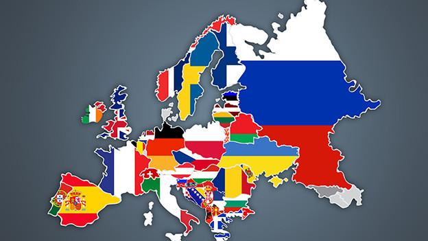 Karte von Europa eingefärbt mit den Sujets der Landesflaggen.