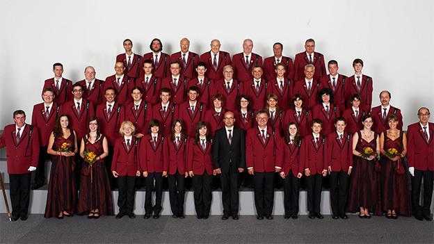 Gruppenbild einer Blasmusik-Formation.