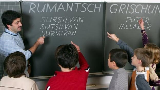 Kinder und Lehrer vor Schultafel.