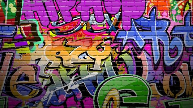 Graffiti an der Mauer.
