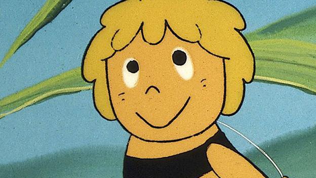 Eine Biene als Zeichentrickfigur.