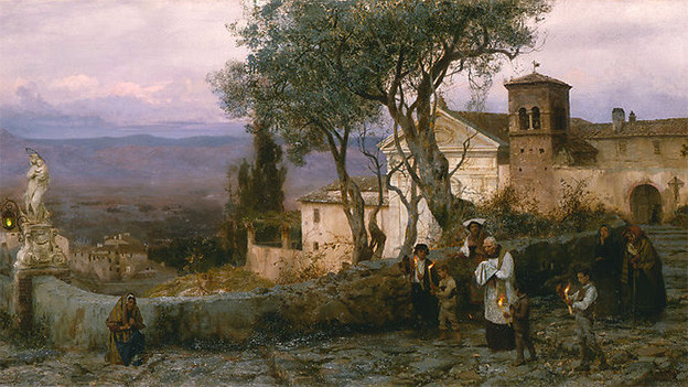 Gemälde mit einem Priester und Begleitschaft.