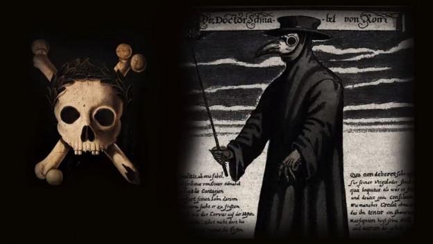 Ein Totenkopf und der schwarze Mann.