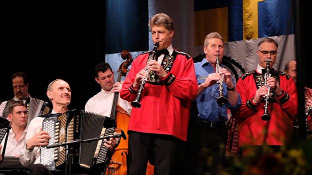 Verschiedene Volksmusikformationen auf einer Bühne.