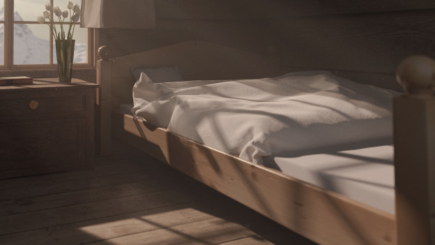 Ein Bett in einer Alphütte.