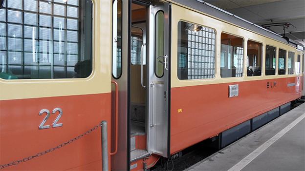 Ein Triebwagen in einem Bahnhof.