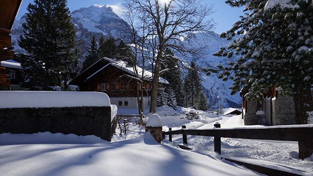 Der kleine Bergdorf Mürren liegt auf 1650 m. ü. M.