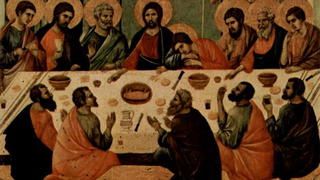 Jesus mit Jüngern am Tisch.