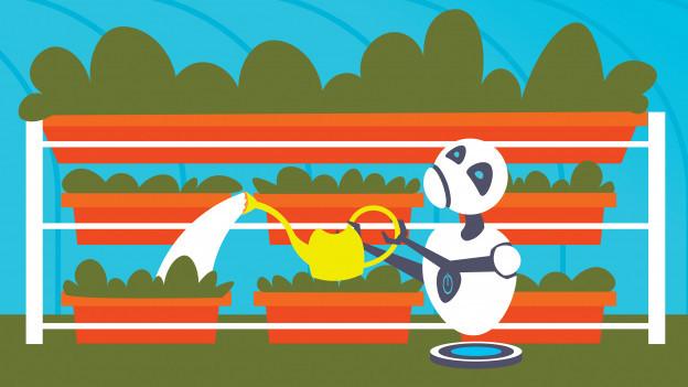 Ein Roboter giesst mit einer Giesskanne im Garten.