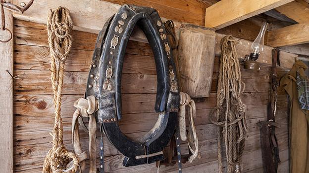 Pferdehalter und Seile an einer Holzwand.